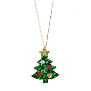 Christmas Necklace Jewelry Holiday Glitter Tree